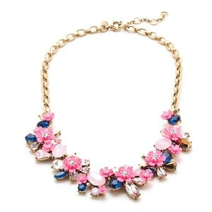 J Crew Neon Pink Floral Necklace